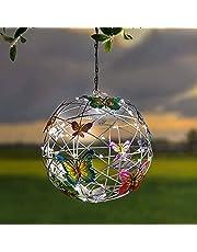 Zonnelampen voor buiten, kleurrijke tuindecoratie, staand, zonnelampions buiten, weerbestendig, tuinlamp zonne-energie, led-tuinverlichting op zonne-energie, decoratieve landschapsverlichting, vlinder voor gazon