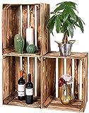 LAUBLUST Vintage Holzkisten 3er Set Geflammt - ca. 50x40x30cm | Weinkisten & Obstkisten | Deko- & Möbelkisten