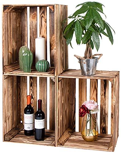LAUBLUST Vintage Holzkisten 3er Set Geflammt - ca. 50x40x30cm   Weinkisten & Obstkisten   Deko- & Möbelkisten