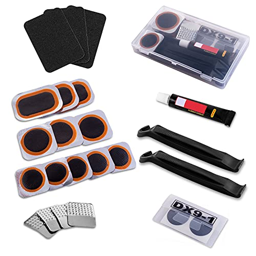 KOAREL Bike Tire Repair Kit Inner Tube Puncture Patch with Vulcanizing Patches,Glueless Patchs,Metal Rasp,Lever,Sandpaper,Portable Storage Box for Motorcycle,BMX Cycling, Inflatable (Black-1)