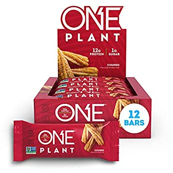 ONE Plant Protein Bars Churro Vegan Gluten Free Protein Bars with 12g Protein & Only 1g Sugar Guilt-Free Snacking for High Protein Diets 1.59 Oz  12 Pack
