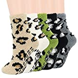 Zando Fuzzy Socks for Women Non Skid Grip Socks Warm Cozy Socks Non-Slip Yoga Socks with Grips Plush Slipper Socks Non Slip Hospital Socks Athletic Pilates Socks Sweet Home Socks 5/Printed Leopard