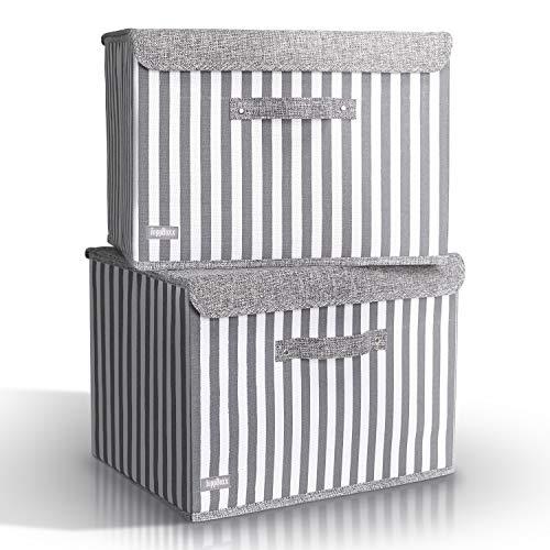TOPPBOXX [2 Stück] Aufbewahrungsbox mit Deckel - inklusive 2 Klettverschlüssen und Griffen - Faltbarer Aufbewahrungskorb für Zuhause [38 x 27 x 27 cm] - Praktische & Waschbare Box zum Lagern