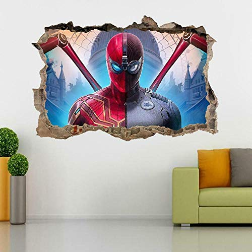 Wall Sticker Super Movie Spider 3D Smashed Wall Sticker Decal Art Mural