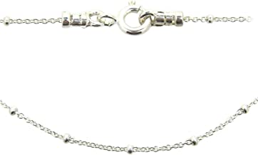 Sterling Silver Beaded Chain Necklace, Satellite Chain Cable Necklace