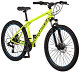 Schwinn High Timber ALX Youth/Adult Mountain Bike, Aluminum Frame and Disc Brakes, 27.5-Inch Wheels, 21-Speed, Yellow