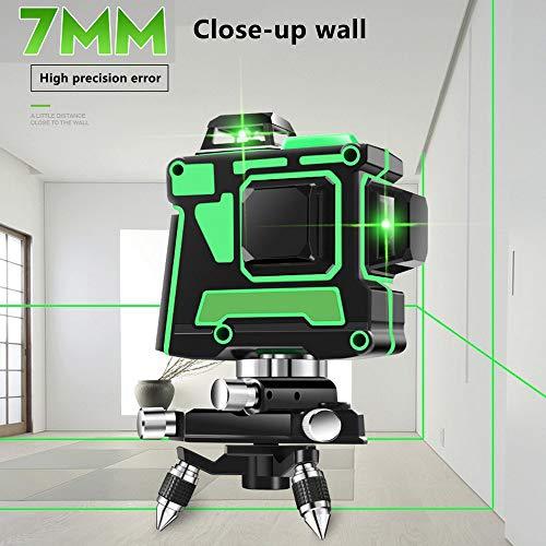 Lijnlaser, 12 lijnen 3D-groenlaser nivelleringsapparaat zelfnivellerende kruislijnlaser groen met laserpunten Paket B