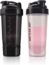 Protein Shaker Bottle with Power Storage 24 OZ Mixer Cups 2 Pack - Soccer Shape Mixing, No Blending Ball or Whisk Needed, BPA Free