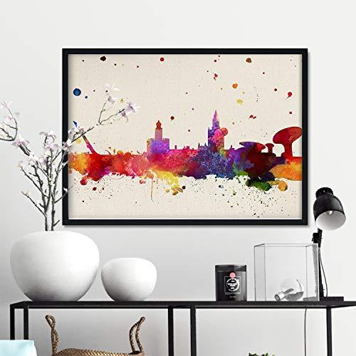 Nacnic Lámina Ciudad de Sevilla. Skyline Estilo Acuarela y explosión de Color. Poster tamaño A3 Impreso en Papel...