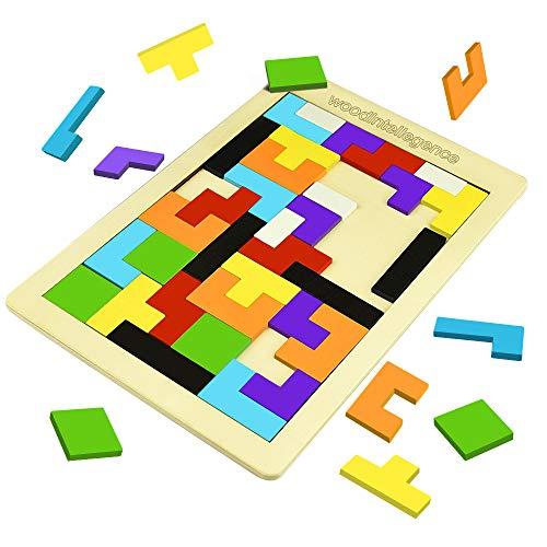 SOKY Spielzeug für Jungen Mädchen 3-8 Jahre, Holz Tetris Puzzle Spielzeug für Kinder Geschenke für Jungen ab 3-8 Jahre Weihnachten Geschenk für Mädchen 3-8 Jahre Mädchen