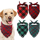 KOOLTAIL Plaid Dog Bandana Christmas 4 Pack - Classic Triangle Scarf Tassels Style Holiday for Dogs Cats Puppy