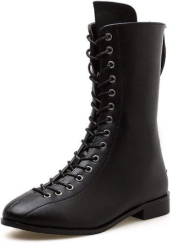 HBDLH Chaussures pour Femmes Martin Bottes à 2 Cm Le Frenulum Tête Ronde D'épaisseur Au Fond Plat Tube Court Bottes Zipper Moyen De Bottes.