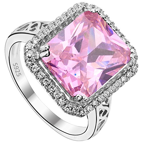 Anello donna Argento 925,EVER FAITH 5ct Radiante Taglio Zirconia Elegante Anello Rosa 14