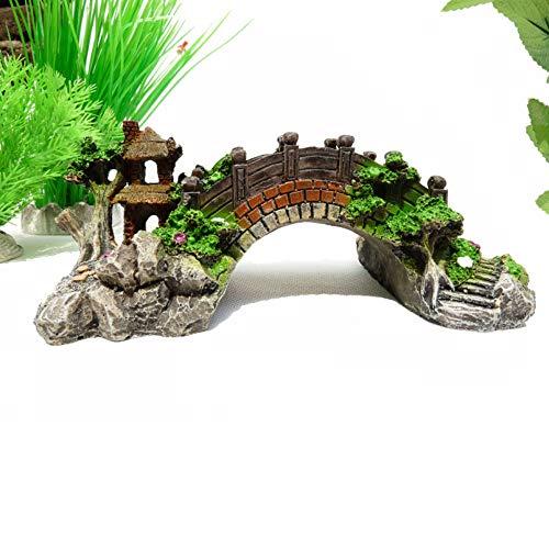 BSTCAR Aquarium Deko, Höhle Aquarium, das dekorative Brücke landschaftlich gestaltet Baumstamm Holz Polyresin Landschaft Aquarium Dekoration 14,5 * 5,5 * 6CM