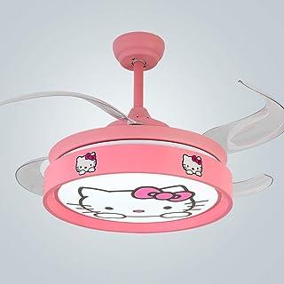 Children's Fan Light Modern Simple Children's Room Ceiling Fan Light LED Bedroom Invisible Fan Light Pink Cat