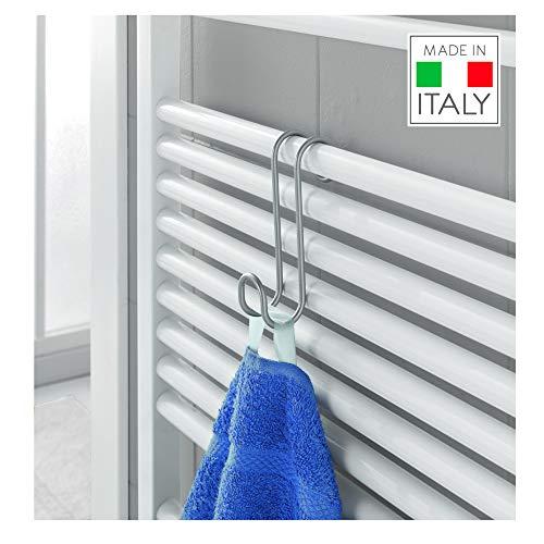 Metaltex Radius - Gancho toallero para radiador de baño (Revestimiento de polytherm), Color Plateado