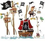 WandSticker4U- Wandtattoo Kinderzimmer kleine PIRATEN auf Schatzsuche I Wandbilder: 158x88cm I Wandaufkleber Piratenschiff Messlatte Wandsticker Schatzinsel I Deko für Jungenzimmer Kinder Junge GROSS