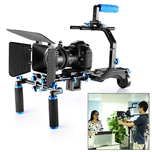 Neewer Film Movie Sistema Kit Video Making System per Canon/Nikon/Sony e Altre Fotocamere Dslr, Include:C-Shaped Staffa + Impugnatura 15.Mm Asta Follow Focus Matte Box + Supporto da Spalla