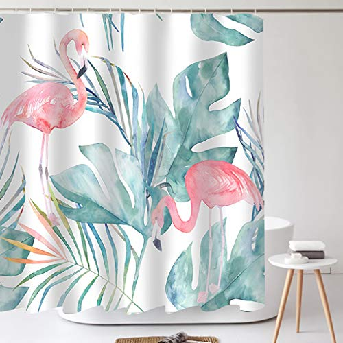 Tititex Flamingo Shower Curtain with Hooks, Tropical Exotic Leaves Graphic in Retro Style Multifunctional Waterproof Fabric Bathroom Decor Set 69 X 70 Inch