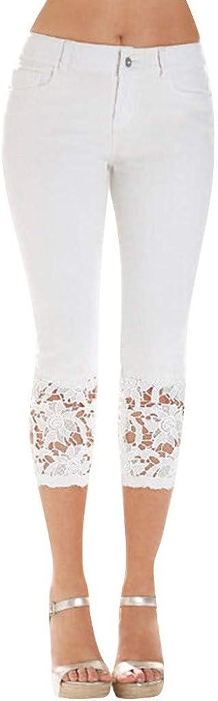 Fankle Womens Leggings Solid Basic Lace Cuff High Waist Stretch Capri Yoga Pants