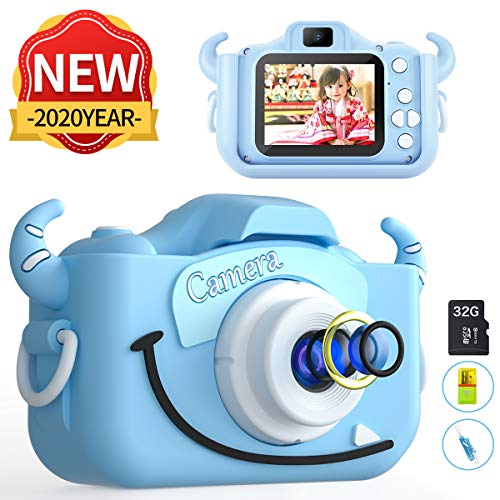 MITMOR Kids Camera Boys Cute Child Digital Camera 32GB Dual Lens 2.0 Inch IPS Color Screen 20.0MP HD Children Digital Cameras Mini Toy Camcorder for 2-14 Years Kids Birthday Holiday Traveling