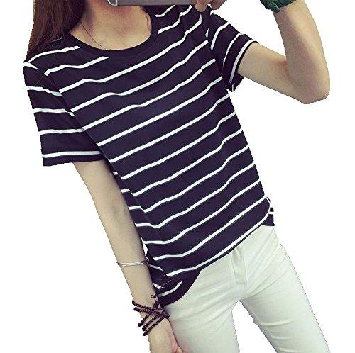(ナンディン) nandin レディース おしゃれ かわいい ボーダー Tシャツ シンプル カットソー トップス ティー シャツ 丸首 お洒落 可愛い 大きい おおきい サイズ (XXL 黒)