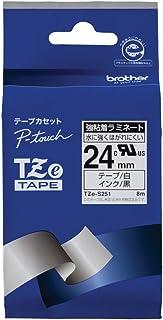 【brother純正】ピータッチ ラミネートテープ TZe-S251 幅24mm (黒文字/白/強粘着)