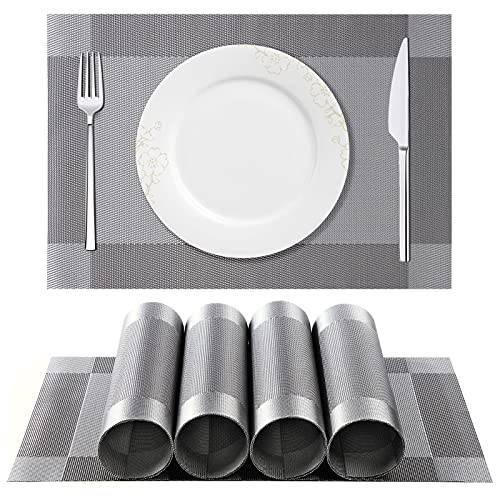 ISIYINER Tischset, Platzset 6er Set rutschfest Abwaschbar PVC Abgrifffeste Hitzewiderstandsfähig Platzdeckchen für Zuhause Restaurant Speisetisch Silber