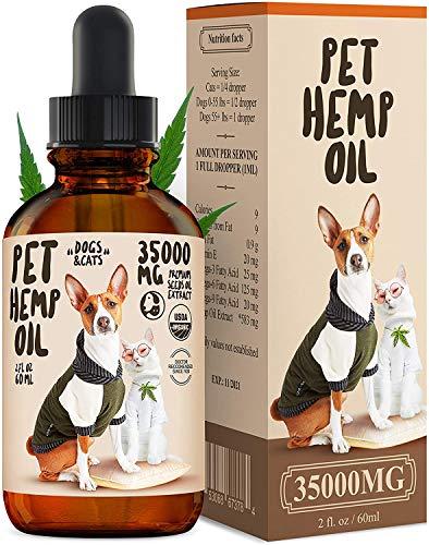 Hemp Oil Dogs Cats - 35000 MG - Anti-Anxiety, Arthritis, Seizures,...