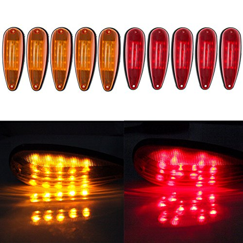 ECCPP 5 Red 5 Amber Tear Drop LED Marker Light 20-leds