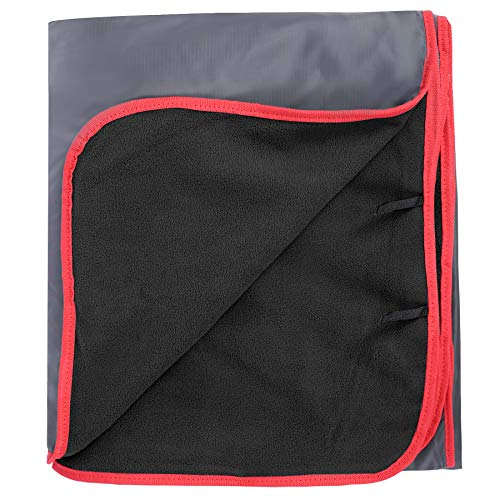 REDCAMP Large Waterproof Stadium Blanket for Cold Weather, Soft Warm Fleece Camping Blanket Windproof for Outdoor Sports, Blue/Red (Outer Grey/Inner Black)