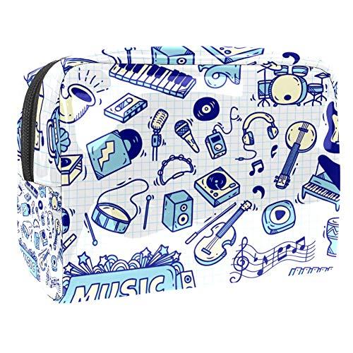 Bleu et Violet Mélange Peintures Marbre Maquillage Portable Cosmétique Sac de Maquillage Outil de Rangement pour Voyage Femmes Hommes Multicolore Couleur 3 18.5x7.5x13cm/7.3x3x5.1in