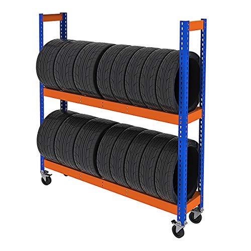 Certeo | Mobiles Reifenregal | HxBxT 1981 x 1536 x 469 mm | 200 kg pro Fachebene| Garagenregal Schwerlastregal Lagerregal