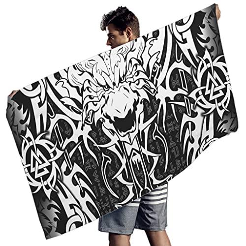 Hanebar Laickter Toalla de playa Viking Dragon Tattoo Cozy Ultra Soft - Toalla de playa para surf blanco 149,8 x 76,2 cm