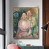 Lienzo decorativo para pared con diseño de hortensias o dos hermanas, Berthe Morisot Modern 50 x 40 cm. Imágenes realizadas como cuadro de pared