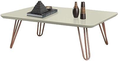 Mesa de Centro Off White com Pés de Metal Cobre 40x70 cm