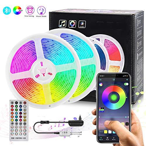 Tira LED, COOLAPA 5050 RGB 2x5 metros Luces de Tiras LED,Función Musical,300 Banda de Luz Impermeable de LED Controlada por Control Remoto o Teléfono Inteligente para El hogar, Exteriores Decoración