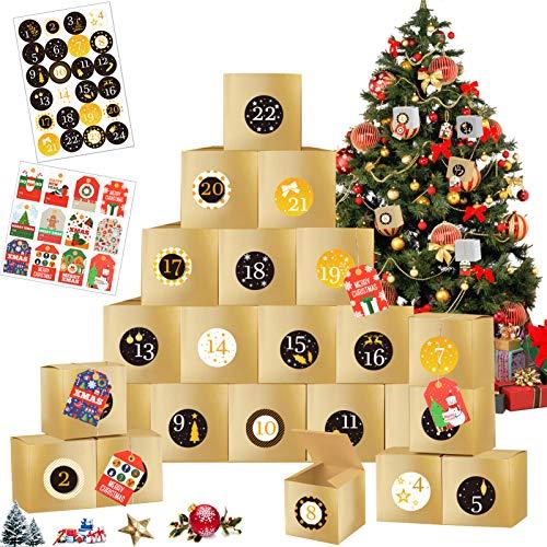 24 scatole Regalo Natalizie,Natale Calendario dell'Avvento,Calendario avvento Sacchetto Regalo di Natale,sacchettini carta,Calendario Avvento 2020,sacchetti regalo in carta kraft (D'oro)