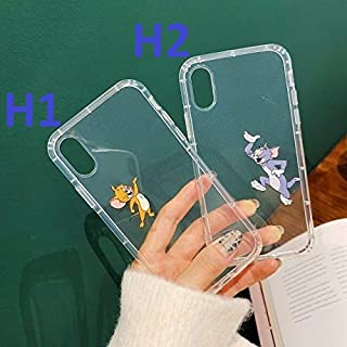Latest Tom Jerry Lovely Cute Cartoon Soft Silicone Phone Case for iPhone 6 6s 7 8 Plus X XR XS Max X Lucency Phone case (H2, for iPhone XR)