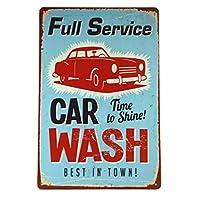 Full Service Car Wash Large Old Work 金属板ブリキ看板警告サイン注意サイン表示パネル情報サイン金属安全サイン