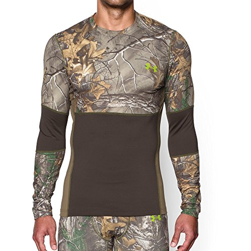 Under Armour Men's ColdGear Armour Scent Control Crew, Realtree Ap-Xtra /Velocity, Small