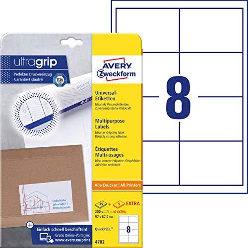 Preisvergleich Produktbild AVERY Zweckform 4782 Universal Etiketten (200 plus 40 Klebeetiketten extra,  97x67, 7mm auf A4,  bedruckbare Versandetiketten,  selbstklebende Versandaufkleber mit ultragrip) 30 Blatt,  weiß