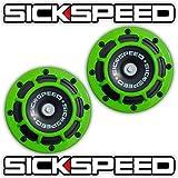 Sickspeed 2Pc Neon Green Super Loud Compact Electric Blast Tone Horn Car/Truck/SUV 12V P1 for Honda Prelude