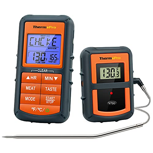 ThermoPro TP07S Wireless Meat Thermometer for Cooking, Digital Grill Thermometer with Temperature Probe, Smart LCD Screen BBQ Thermometer for Grilling, Oven Safe Food Smoker Thermometer for Kitchen