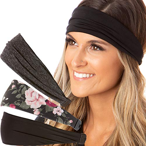 Hipsy Adjustable amp Stretchy Printed Xflex Wide Headbands for Women Girls amp Teens 3pk Black/Black Floral/Charcoal Xflex