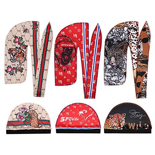 Premium Silky durag & Wave Cap(Multi Colors),Designer Durag With Long Wide Tail for 360 wave (JUNGLEDURAG&CAP-TIGER-GORILA-PUMA)
