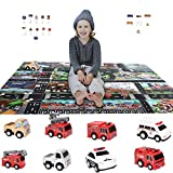 Chalpr Diecast Racing Cars Toy Set w/ Activity Play Mat &Road Sign, Truck Carrier, ABS Race Model Car & Assorted Vehicle Play Set for Kids, Boys & Girls
