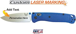 Custom Laser Engraved Benchmade Bugout Knife Blue Handle Fine Edge Blade 535