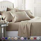 Danjor Linens 6 Piece Hotel Luxury Soft 1800 Series Premium Bed Sheets Set, Deep Pockets, Hypoallergenic, Wrinkle & Fade Resistant Bedding Set(Queen, Taupe)