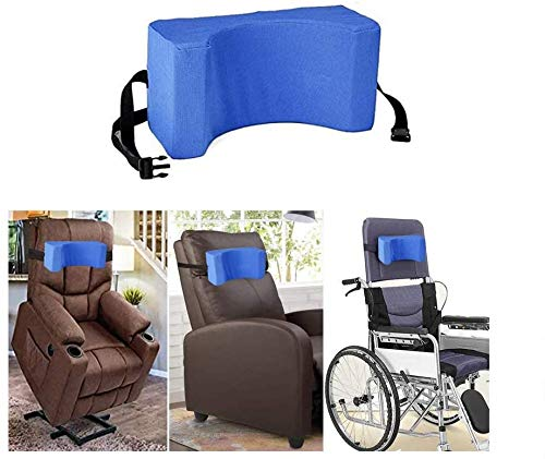 AOSSA - Reposacabezas para silla de ruedas con soporte para el cuello y la cabeza de la silla de ruedas (azul)